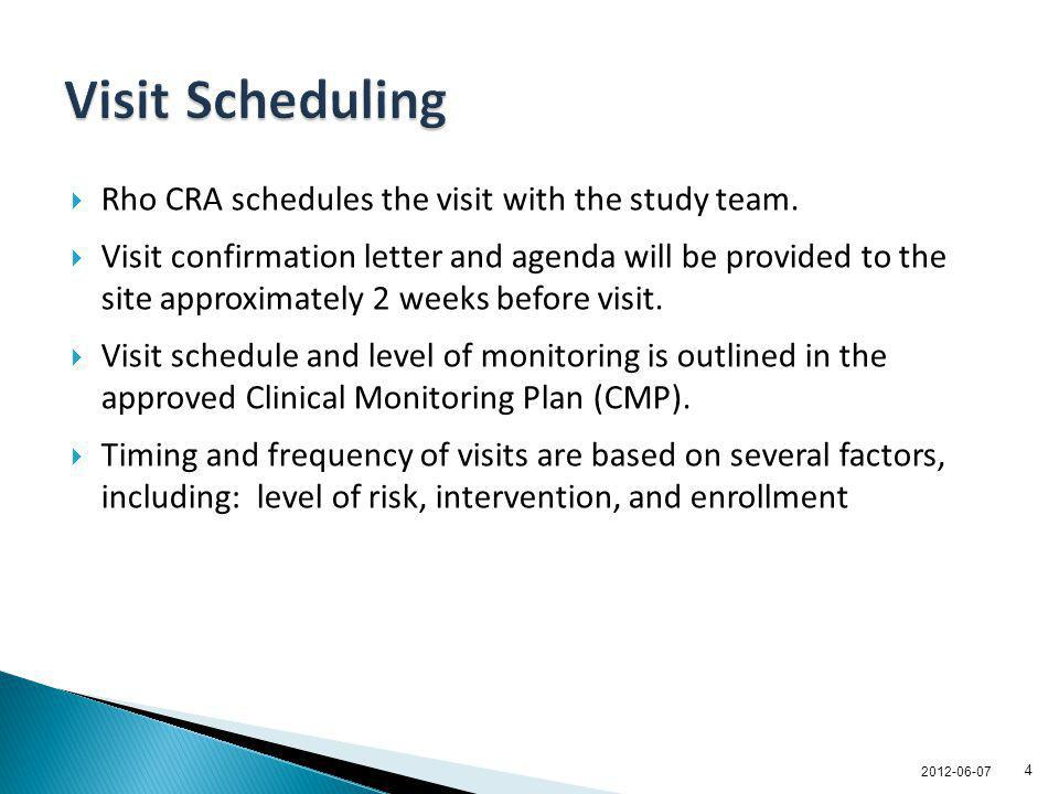 Visit Scheduling Rho CRA schedules the visit with the study team.