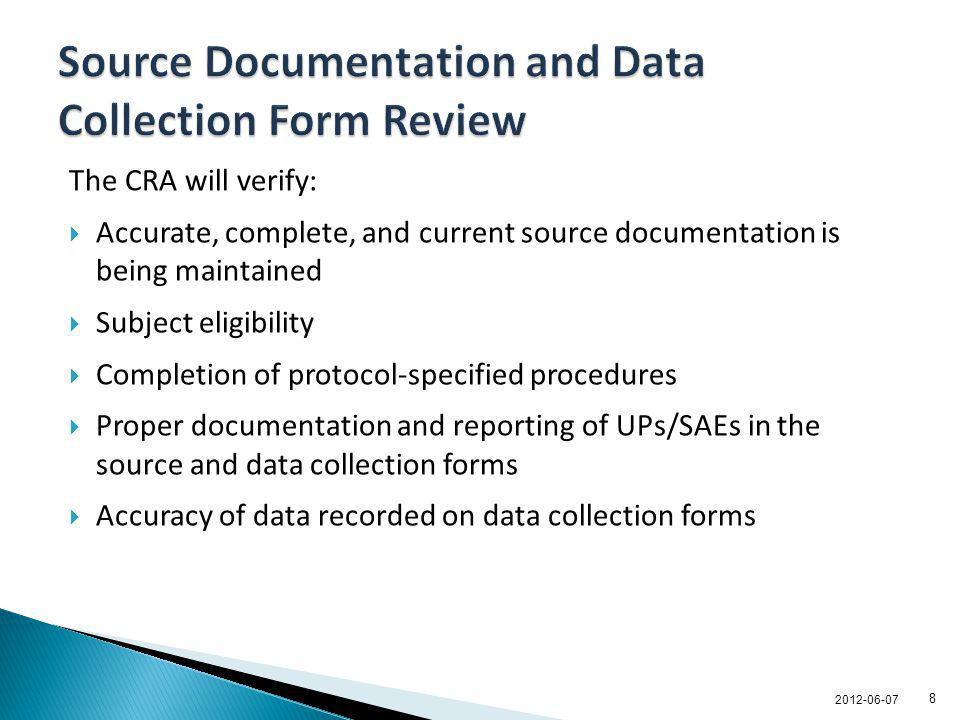 Source Documentation and Data Collection Form Review