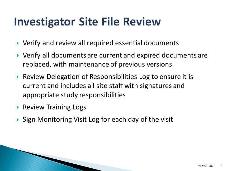 Investigator Site File Review