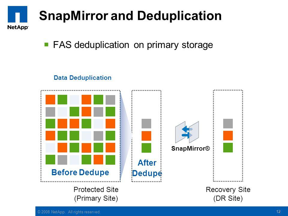 SnapMirror and Deduplication