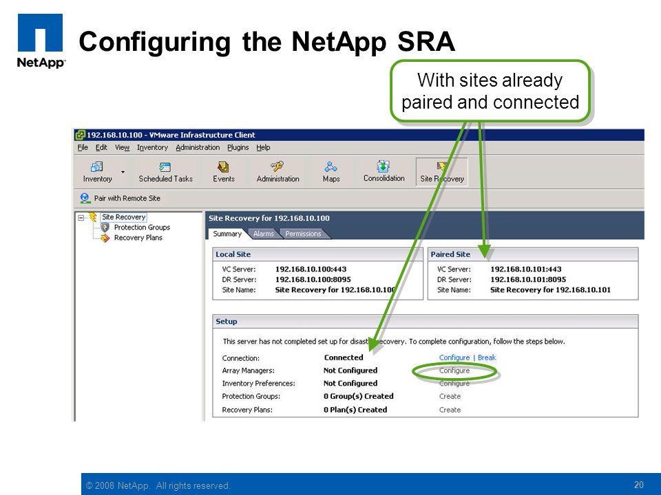 Configuring the NetApp SRA