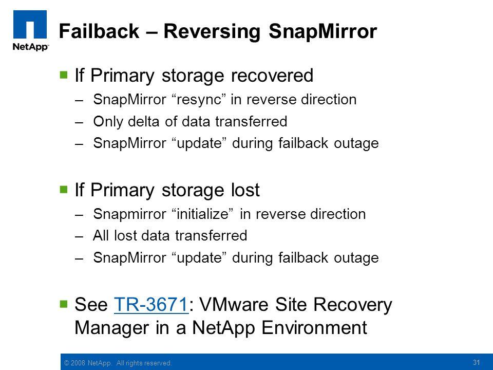 Failback – Reversing SnapMirror