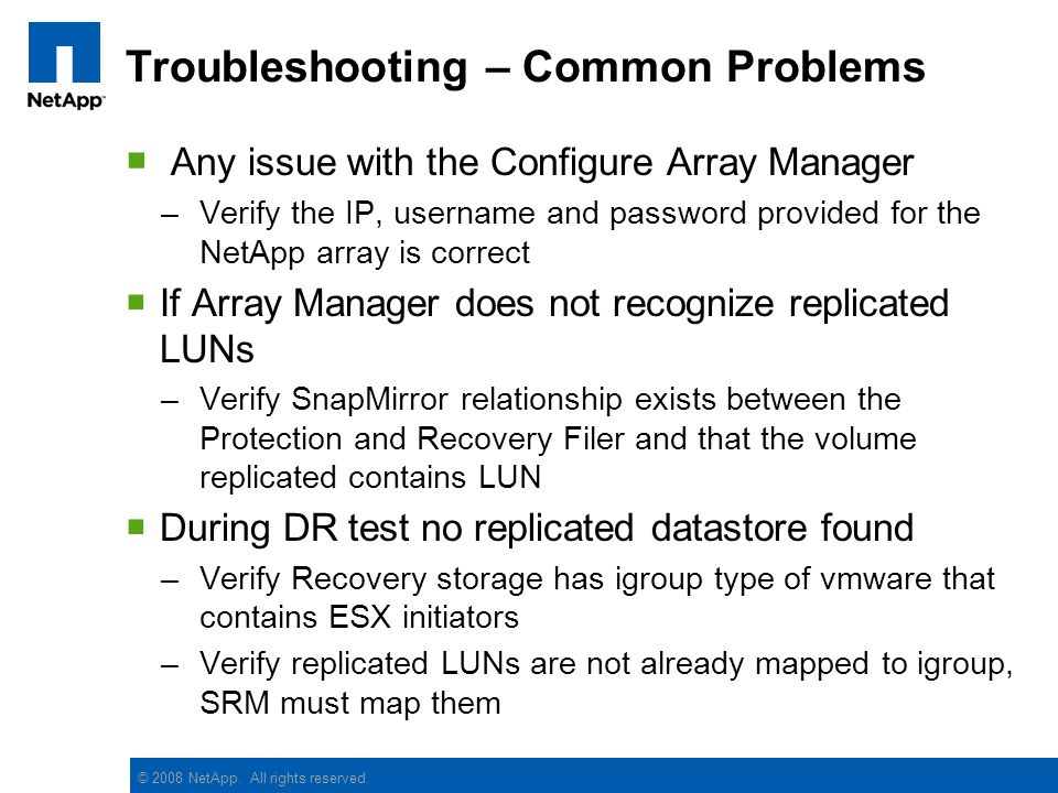 Troubleshooting – Common Problems