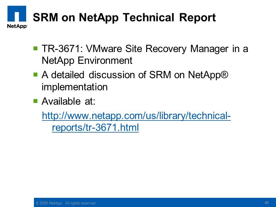 SRM on NetApp Technical Report