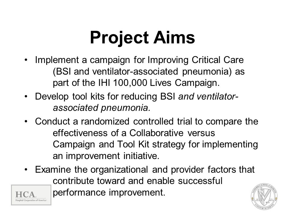 Project Aims Implement a campaign for Improving Critical Care (BSI and ventilator-associated pneumonia) as part of the IHI 100,000 Lives Campaign.