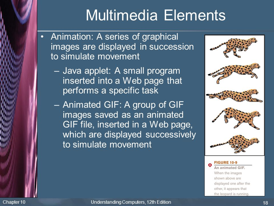 Multimedia Elements Animation: A series of graphical images are displayed in succession to simulate movement.