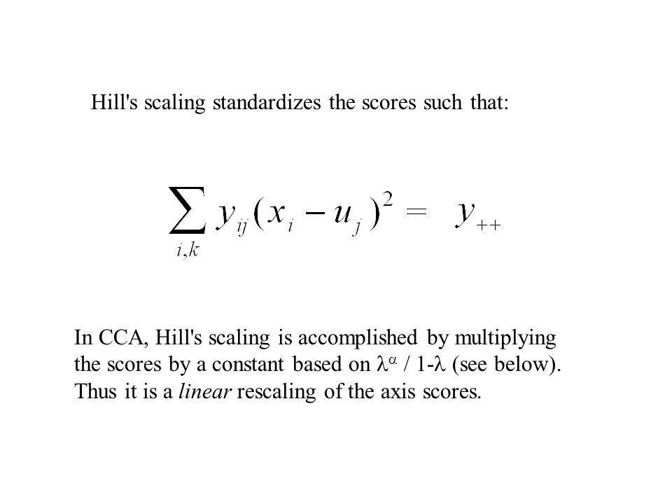 Hill s scaling standardizes the scores such that: