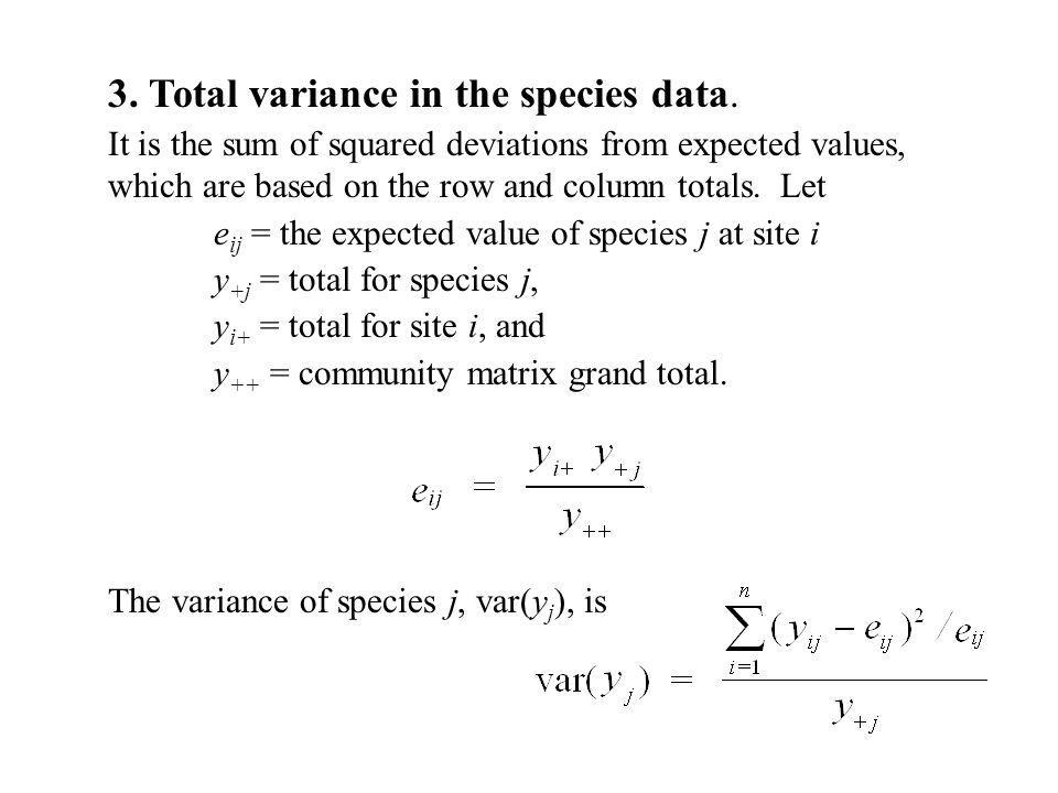 3. Total variance in the species data.