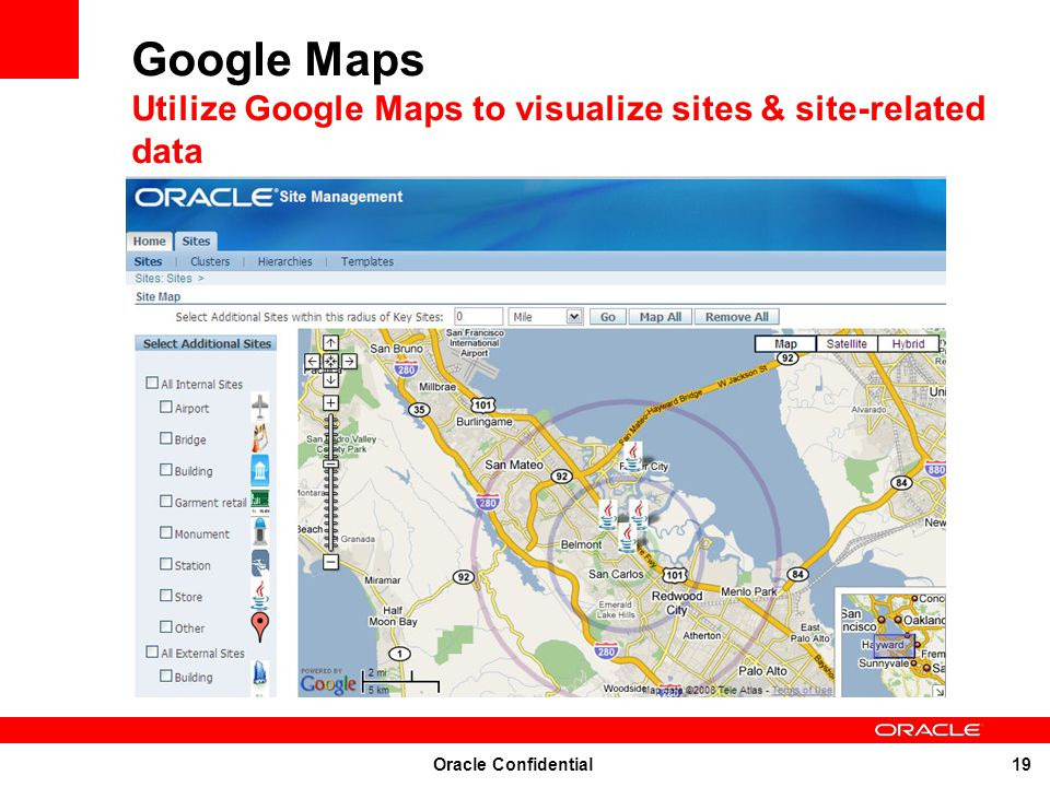 Google Maps Utilize Google Maps to visualize sites & site-related data