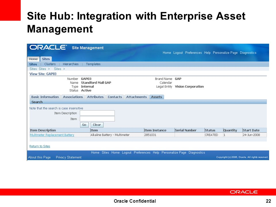 Site Hub: Integration with Enterprise Asset Management