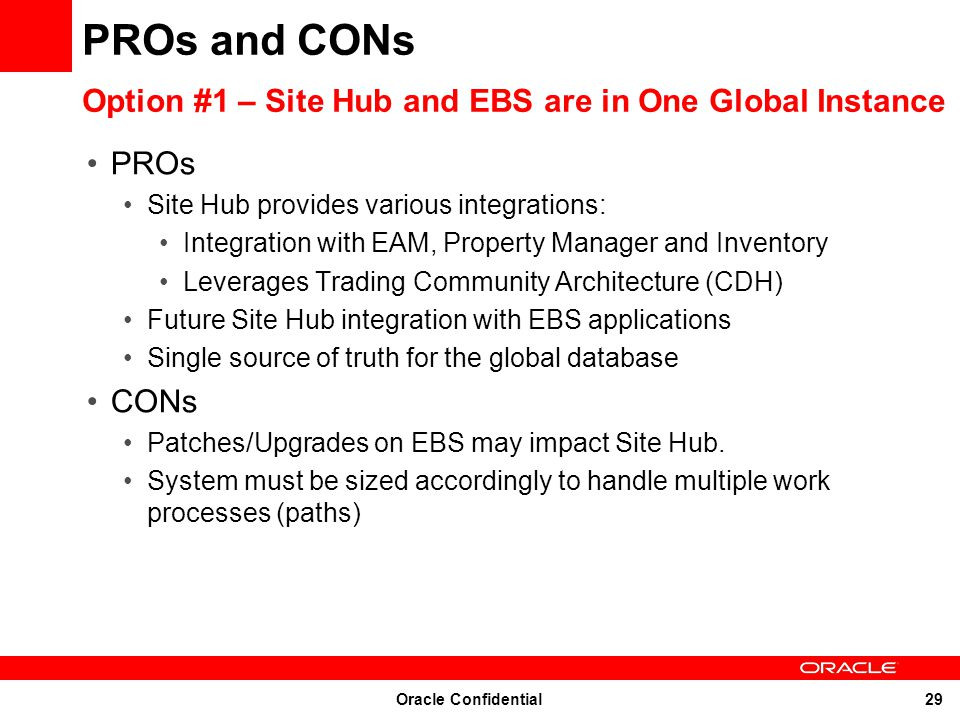 PROs and CONs Option #1 – Site Hub and EBS are in One Global Instance