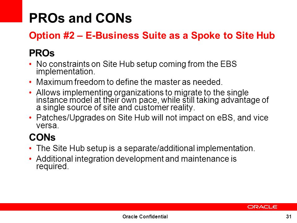 PROs and CONs Option #2 – E-Business Suite as a Spoke to Site Hub