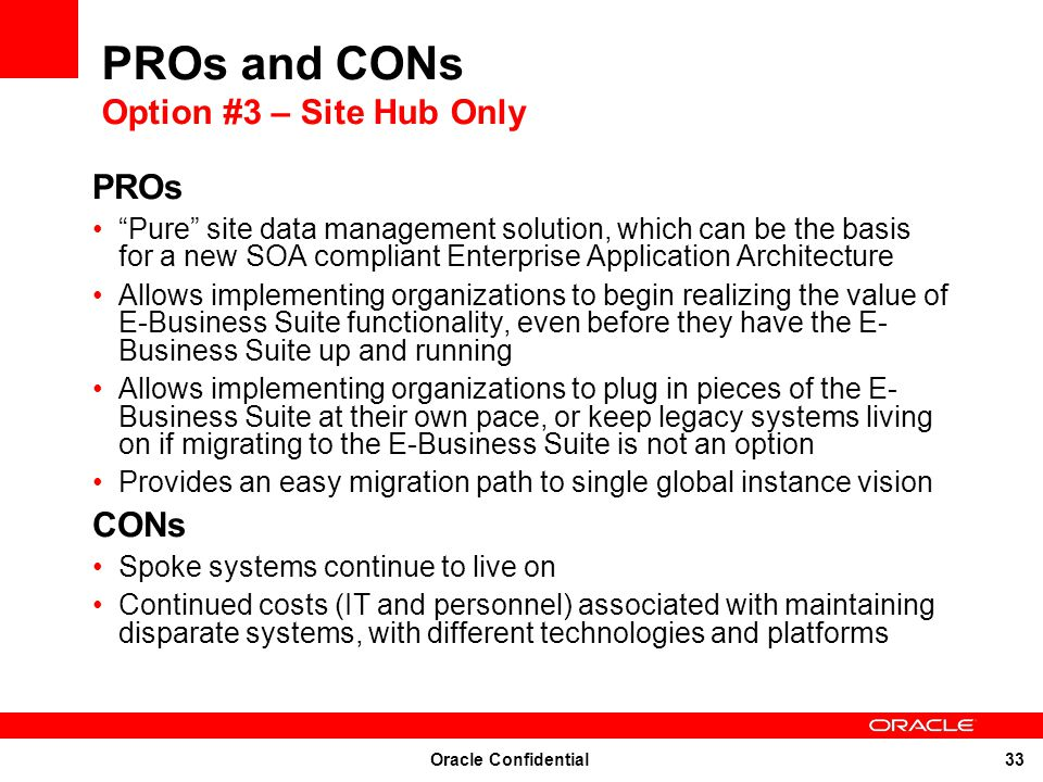 PROs and CONs Option #3 – Site Hub Only