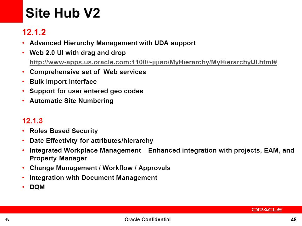 Site Hub V2 12.1.2. Advanced Hierarchy Management with UDA support. Web 2.0 UI with drag and drop.