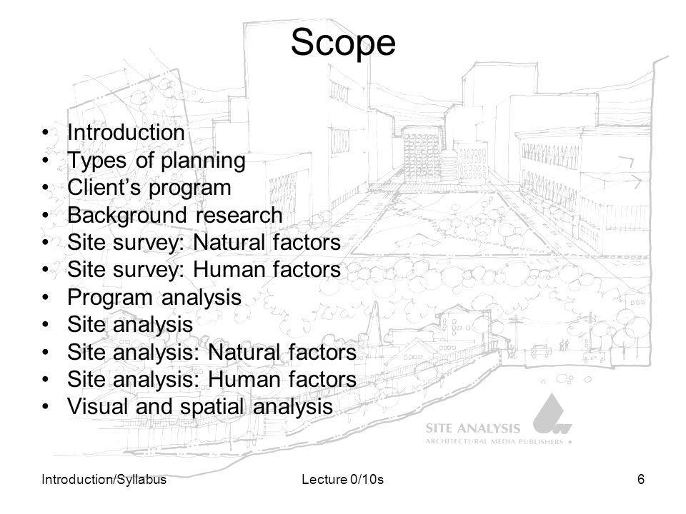 Scope Introduction Types of planning Client's program