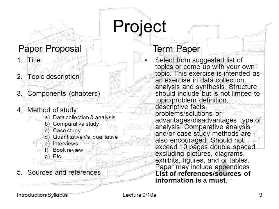 Project Paper Proposal Term Paper Title Topic description