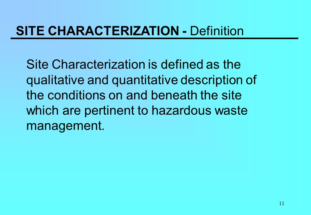 SITE CHARACTERIZATION - Definition