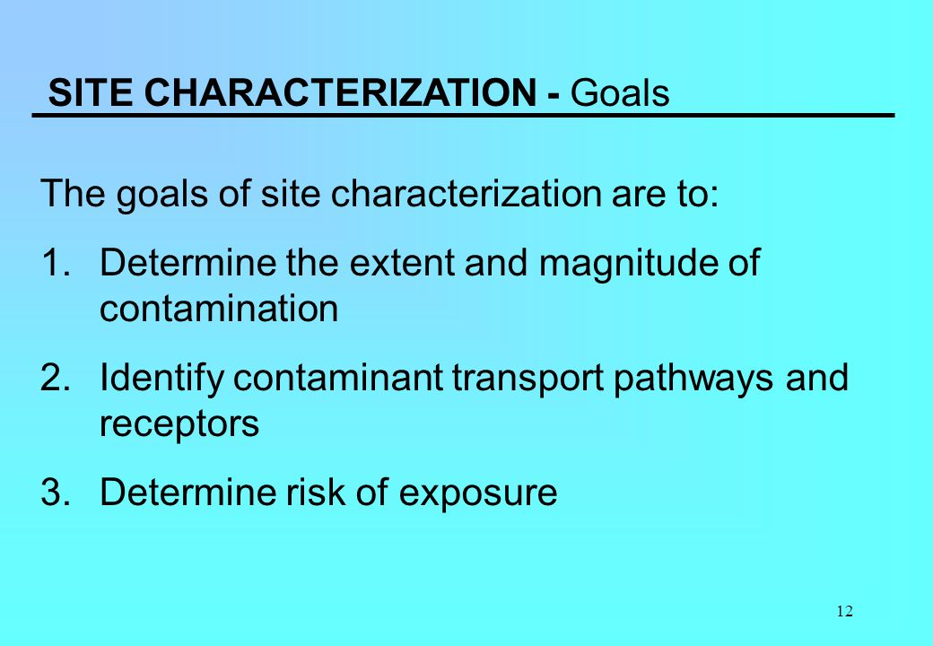 SITE CHARACTERIZATION - Goals