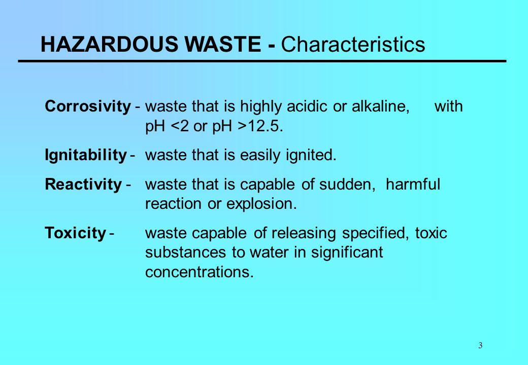HAZARDOUS WASTE - Characteristics