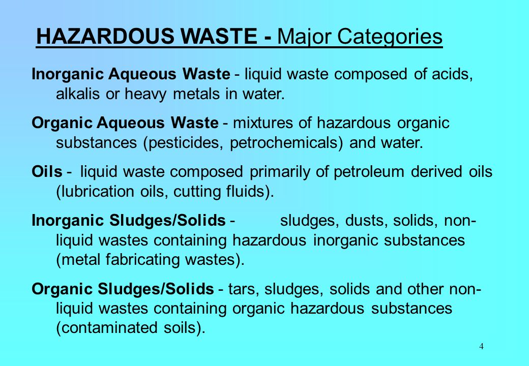 HAZARDOUS WASTE - Major Categories