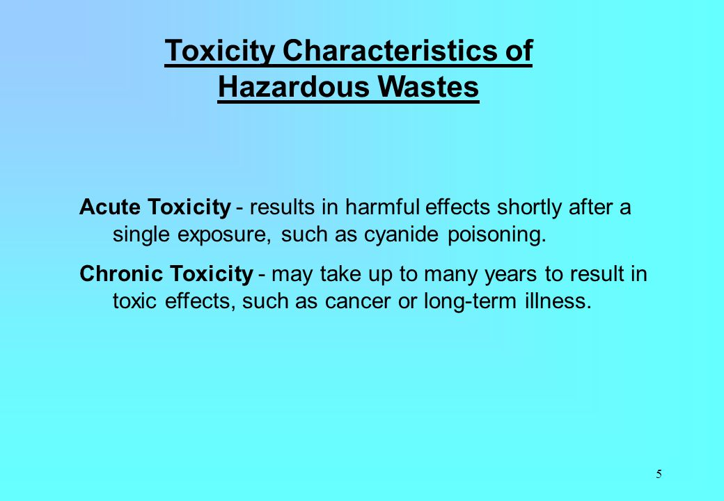 Toxicity Characteristics of Hazardous Wastes