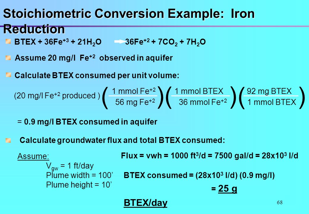 ( ) Stoichiometric Conversion Example: Iron Reduction