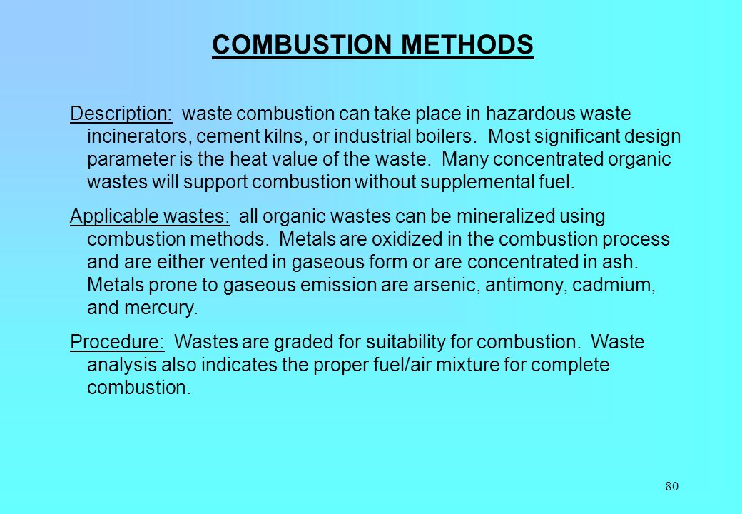 COMBUSTION METHODS