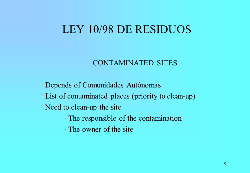 LEY 10/98 DE RESIDUOS CONTAMINATED SITES