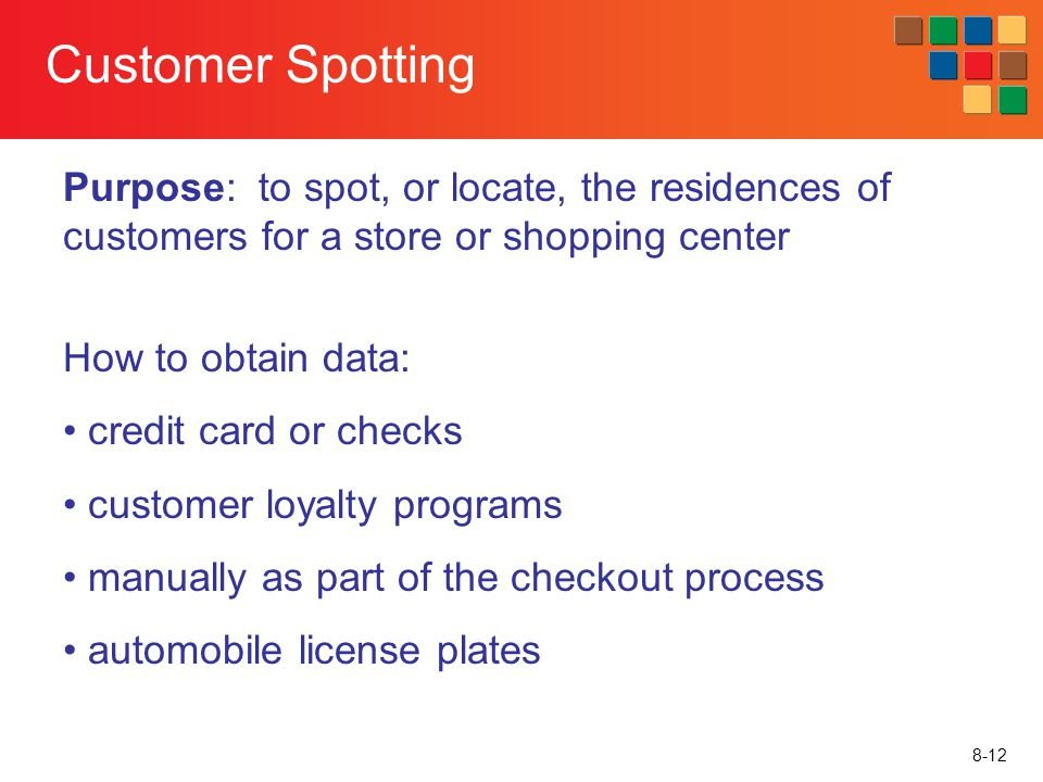Customer Spotting Purpose: to spot, or locate, the residences of customers for a store or shopping center.