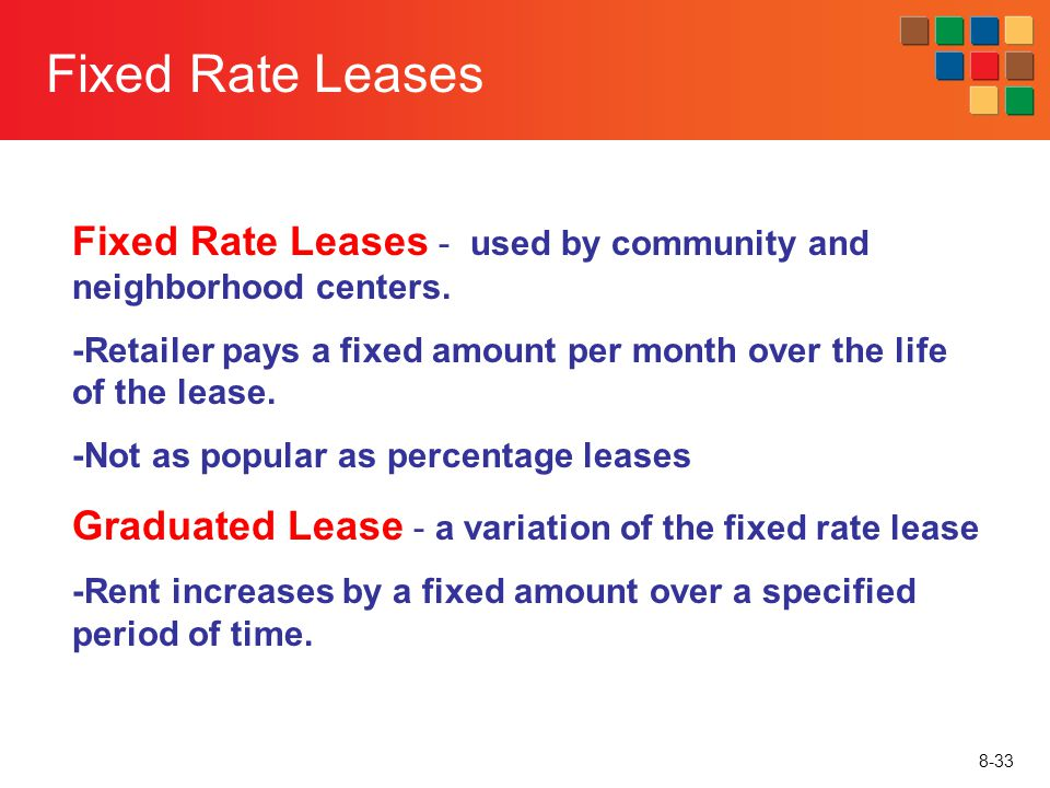 Fixed Rate Leases Fixed Rate Leases - used by community and neighborhood centers.
