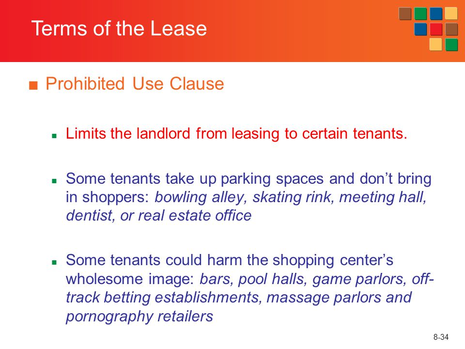 Terms of the Lease Prohibited Use Clause