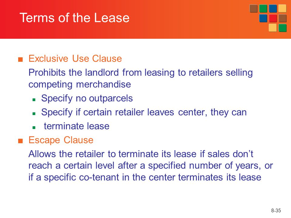 Terms of the Lease Exclusive Use Clause