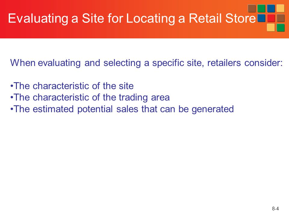 Evaluating a Site for Locating a Retail Store