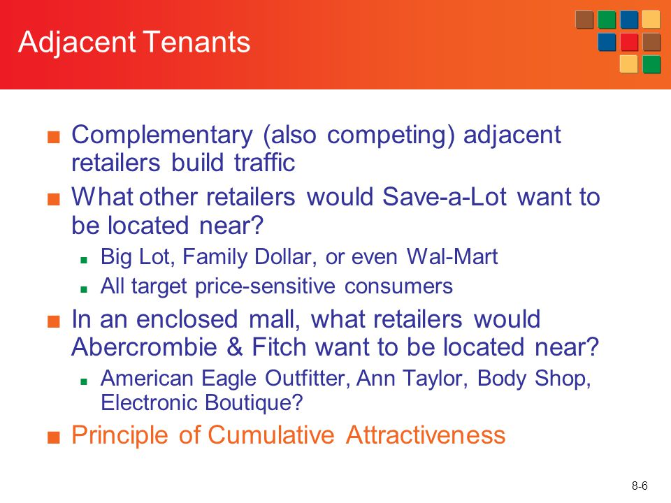 Adjacent Tenants Complementary (also competing) adjacent retailers build traffic. What other retailers would Save-a-Lot want to be located near