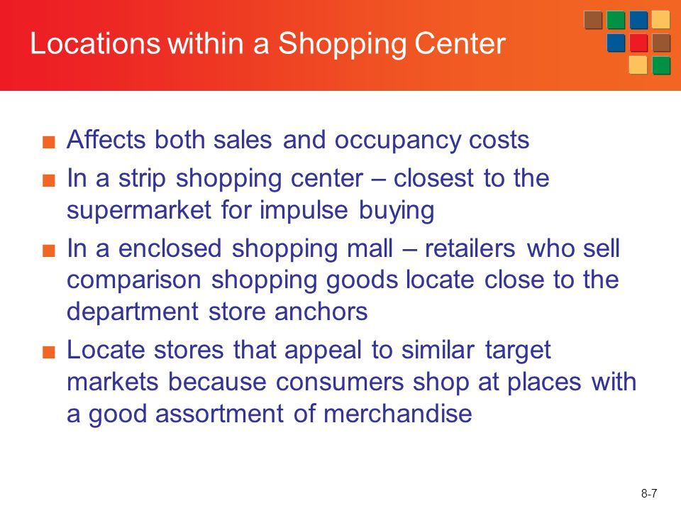 Locations within a Shopping Center