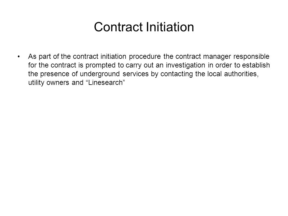 Contract Initiation