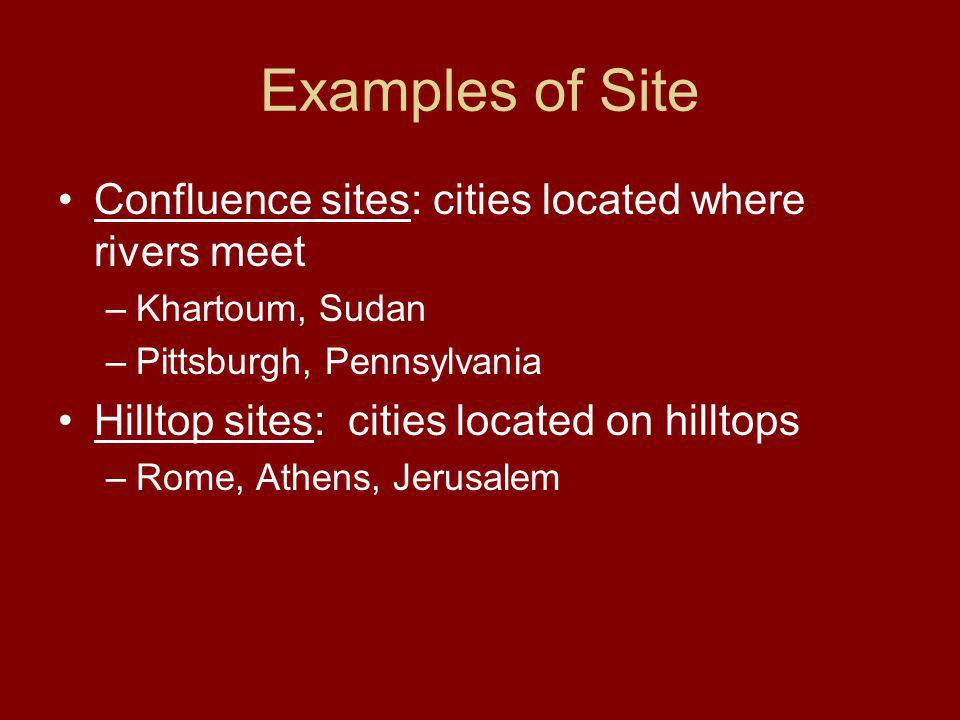 Examples of Site Confluence sites: cities located where rivers meet