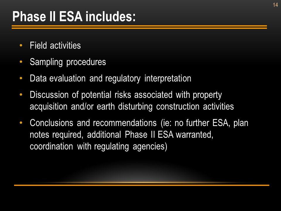 Phase II ESA includes: Field activities Sampling procedures