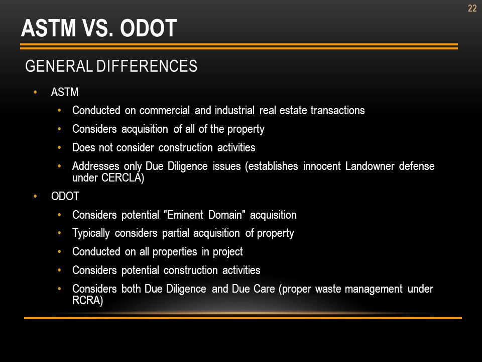 ASTM VS. ODOT General Differences ASTM