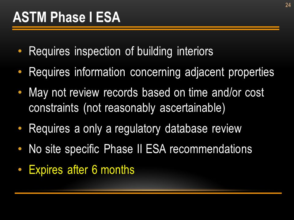 ASTM Phase I ESA Requires inspection of building interiors