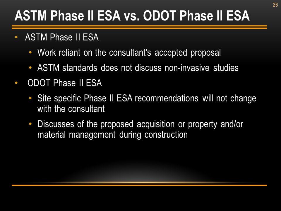 ASTM Phase II ESA vs. ODOT Phase II ESA