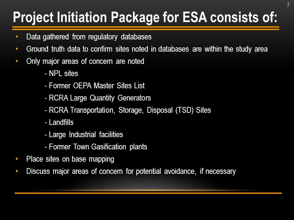 Project Initiation Package for ESA consists of: