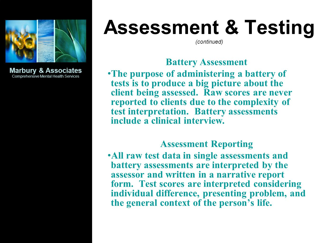Assessment & Testing (continued)