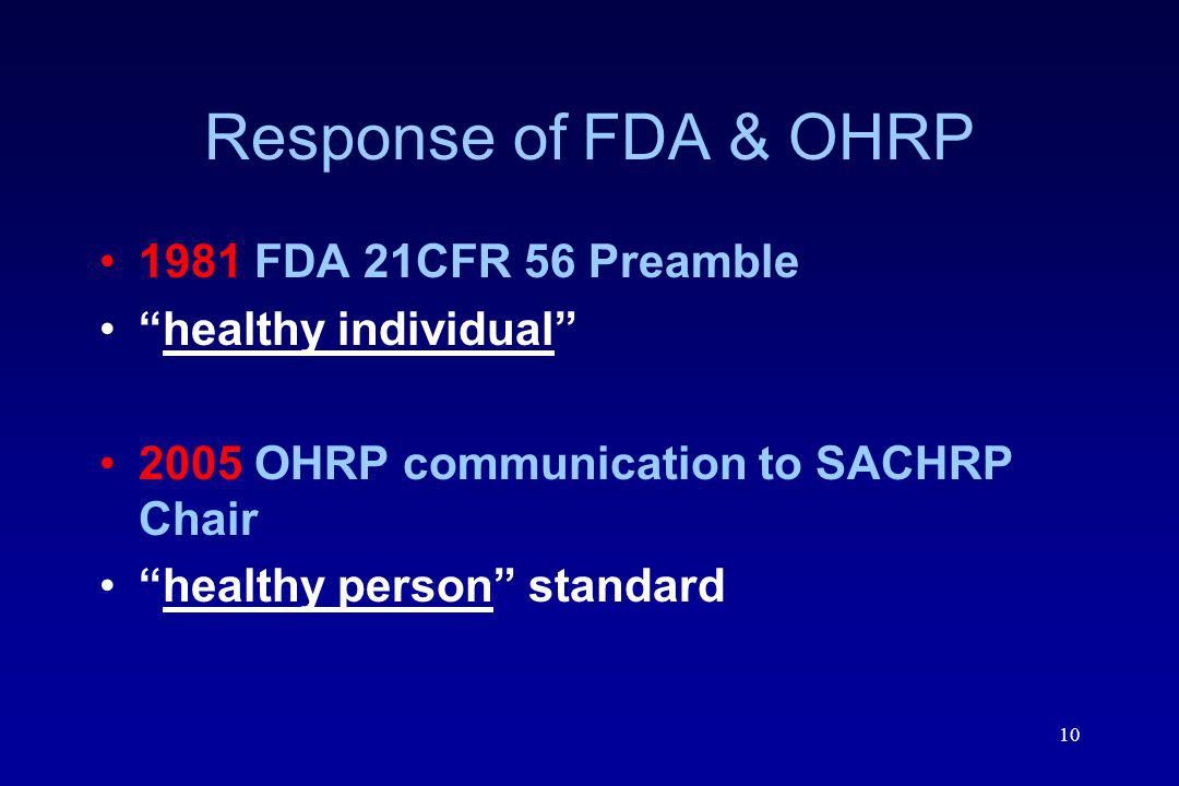 Response of FDA & OHRP 1981 FDA 21CFR 56 Preamble healthy individual