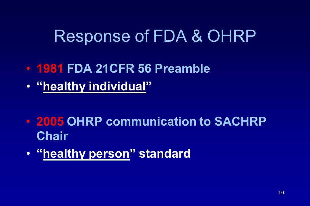 Response of FDA & OHRP 1981 FDA 21CFR 56 Preamble healthy individual