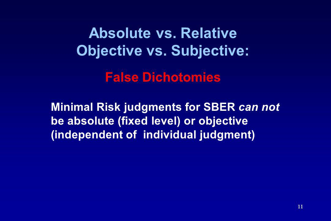 Absolute vs. Relative Objective vs. Subjective: False Dichotomies
