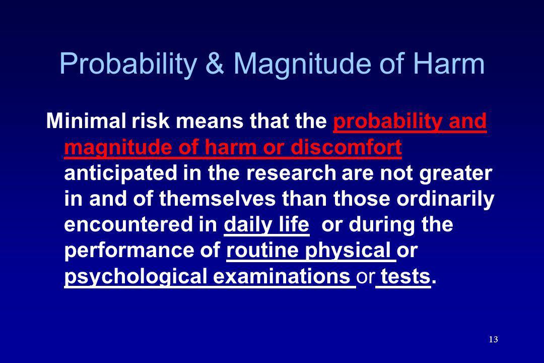Probability & Magnitude of Harm