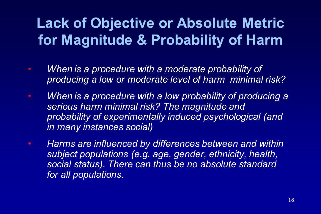 Lack of Objective or Absolute Metric for Magnitude & Probability of Harm