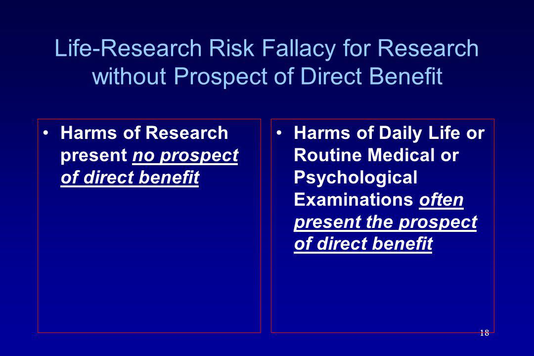 Life-Research Risk Fallacy for Research without Prospect of Direct Benefit