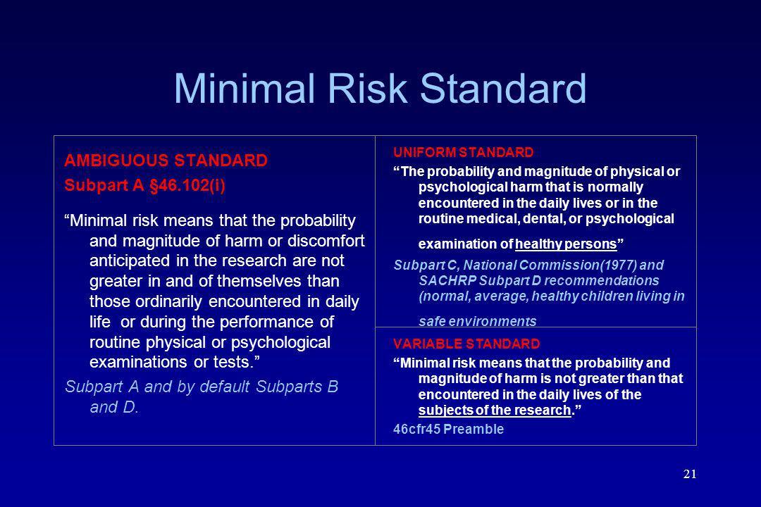 Minimal Risk Standard